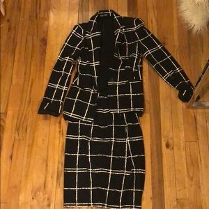 Trendy Black and White Skirt Suit
